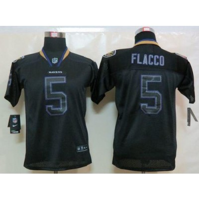 Nike Baltimore Ravens No.5 Joe Flacco Lights Out Black Youth Embroidered NFL Elite Jersey