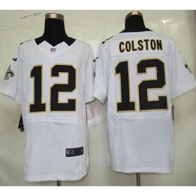 Nike New Orleans Saints No.12 Marques Colston White Elite Jersey