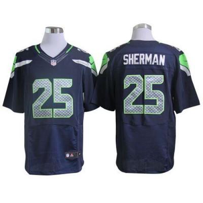 Nike Seattle Seahawks No.25 Richard Sherman Steel Blue Embroidered Elite Jersey