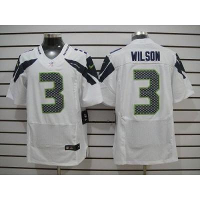 Nike Seattle Seahawks No.3 Russell Wilson White Elite Jersey