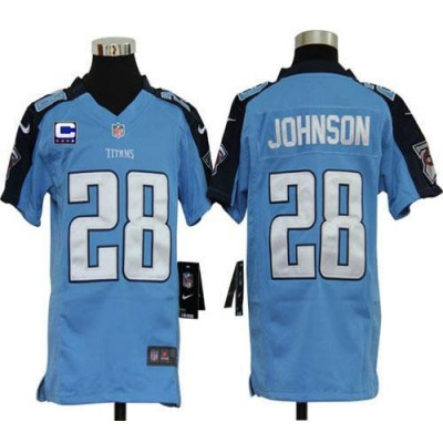 Youth Nike Tennessee Titans 28 Chris Johnson Light Blue C Patch NFL Elite Jersey