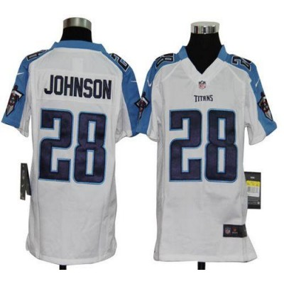 Youth Nike Tennessee Titans 28 Chris Johnson White NFL Elite Jersey
