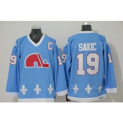 NHL Nordiques 19 Joe Sakic Light Blue CCM Throwback Men Jersey