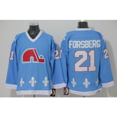 NHL Nordiques 21 Peter Forsberg Light Blue CCM Throwback Men Jersey