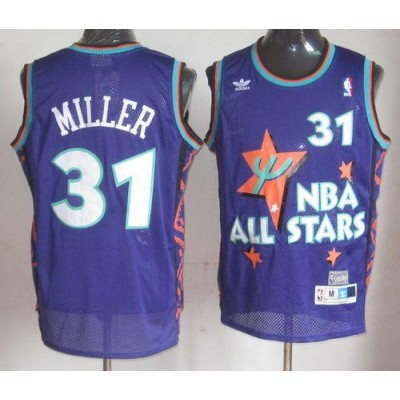 NBA Pacers 31 Reggie Miller Purple 1995 All Star Throwback Men Jersey