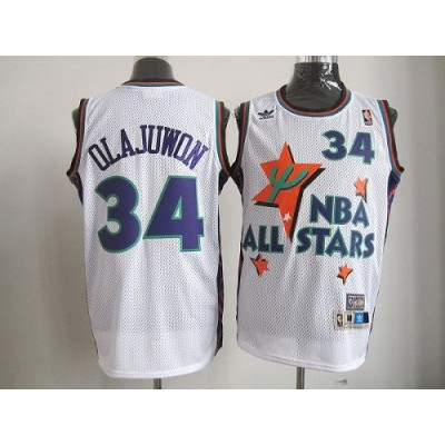 NBA Rockets 34 Hakeem Olajuwon White All Star 1995 Men Jersey