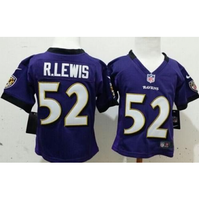 Toddler Nike Ravens 52 Ray Lewis Purple Team Color Stitched NFL Elite Jersey