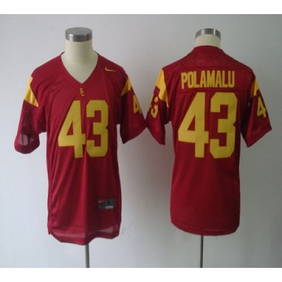 NCAA USC Trojans 43 Troy Polamalu Red Youth Jersey