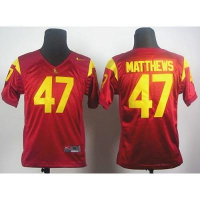 NCAA USC Trojans 47 Clay Matthews Red Youth Jersey