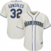 MLB Mariners 32 Marco Gonzales Cream Cool Base Men Jersey