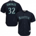 MLB Mariners 32 Marco Gonzales Navy Cool Base Men Jersey